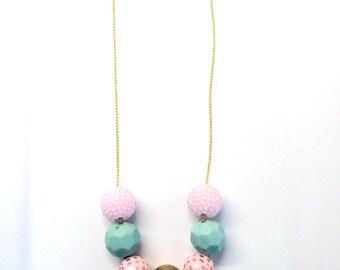 Gold Pink Mint Boho Spring Easter Bubblegum Boho Necklace