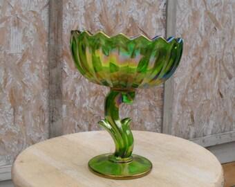 Carnival Glass , Gren Carnival Candy Dish
