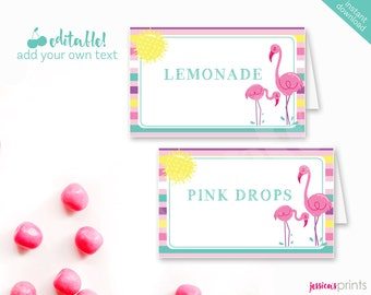 Instant Download Pink Flamingo Printable Party Buffet Cards, EDITABLE Flamingo Tent Cards, Pink Flamingo Party Printable Buffet, Tropical