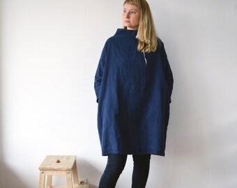 Blue Linen Tunic Dress with Stand Collar, Loose Linen Dress women, Oversized dress, Long sleeves Plus size dress, Mock turtleneck, Plus size