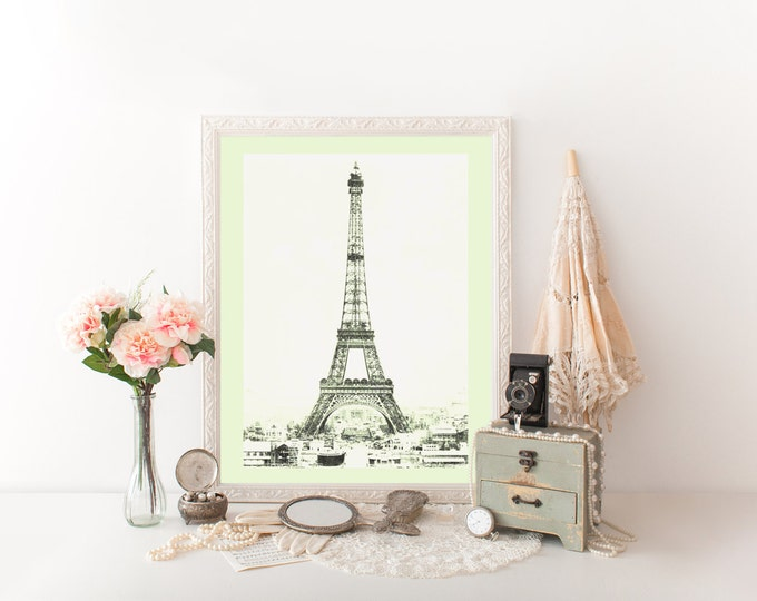 PARIS EIFFEL TOWER Photography Digital Print Citron Pale Spring Green Tinted Photograph French Digital Print Eiffel Tower Diy Room Decor