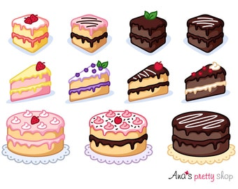 Cake clipart, piece of cake clipart, bakery clipart, pastry clipart, sweet clipart, dessert clipart, vector graphics