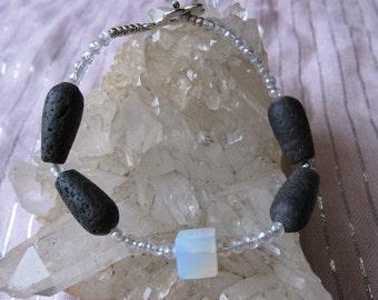 Handmade Opalite Lavastone Bracelet, Opalite Lavastone Bracelet