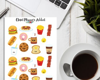 Kawaii Breakfast Food Planner Stickers (S-016)