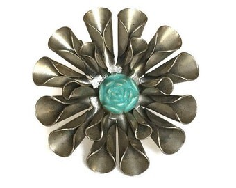 Industrial flower pin vintage folded metal pin with turquoise thermoset bead