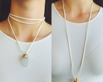 White Suede 'Wrap It Your Way' Necklace with Crystal Pendant