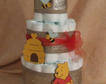 Baby Shower Centerpiece 3 Tier Diaper Cake Winnie The Pooh and the Honey Bees