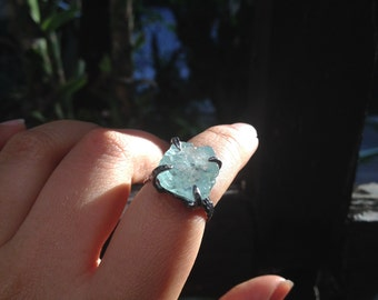 Rough aquamarine sterling silver ring, raw aquamarine adjustable silver ring