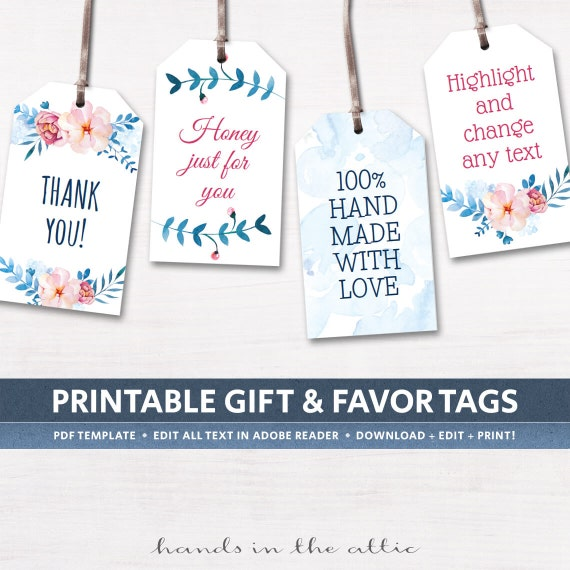 Free Printable Wedding Gift Tags: Printable Floral Gift Tags Party Favors By HandsInTheAttic