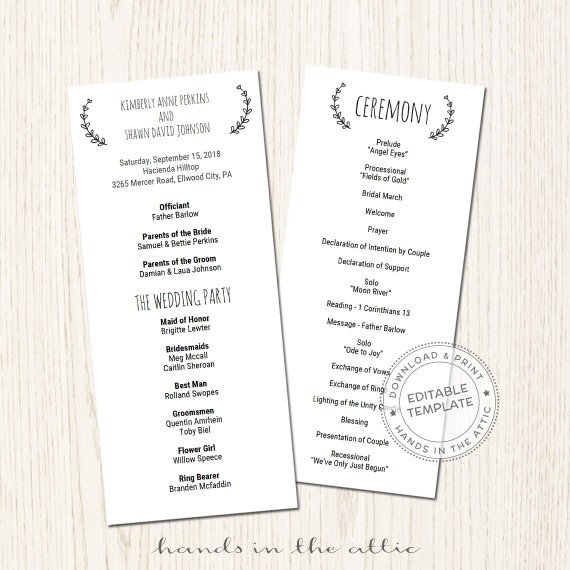 printable wedding program template download wedding schedule ideas wedding ceremony template. Black Bedroom Furniture Sets. Home Design Ideas