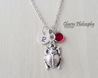 Beetle Necklace - Personalized Initial and Birthstone - Antique Silver Pewter Jewelry