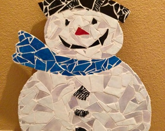 """Mosaic Wall Art - Stained Glass Snowman- Christmas Decor- 24"""" Tall- Ready to hang on the wall!"""