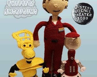 Joel Robinson, Tom Servo, and Crow T. Robot from Mystery Science Theater 3000 (MST3K)