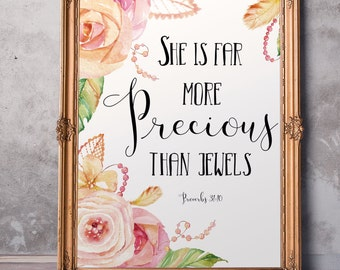 Baptism gift girl Scripture Art She is far more precious than jewels Bible verse Proverbs 31:10 Baby girl wall art Christian quote