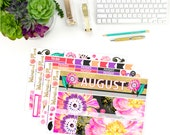 August Monthly Kit - Matte Glossy Erin Condren Monthly Planner Stickers - Coral Purple Black Peach Floral Glitter Summery Bright