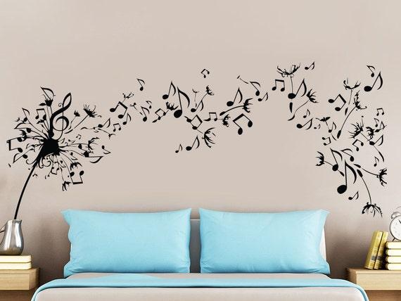 Dandelion Wall Decal Flower Music Musical Notes Nature Plants - Wall decals nature and plants