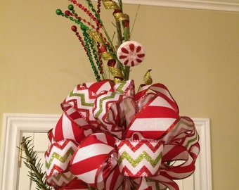 Tree Topper Bow, Christmas Tree Topper Bow, Mantle Bow, Red and Green Christmas Tree Topper Bow, Candy Cane Bow Topper, Bow Tree Topper
