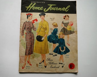 Australian Home Journal Magazine with free patterns - May 1957