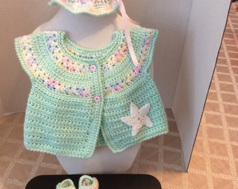 Crochet Baby Sweater hat and booties