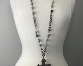 Brass chain with wire wrapped beads and x-large brass cross