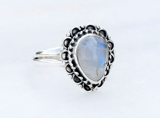 simple moonstone ring sterling silver rings by honeysilverx