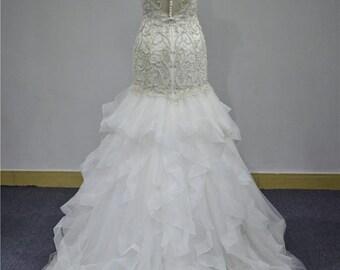 Trumpet Mermaid Beaded and Ruffled bottom crystal Wedding Bridal Wedding dress