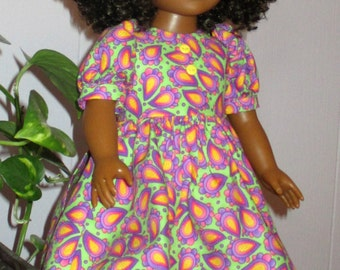 "18"" ag doll green and mauve paisley doll dress, short paisley doll outfit, short sleeve mauve and yellow paisley doll dress"