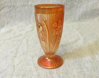 Vintage Jeanette Glass Iris & Herringbone Water Tumbler, Carnival Glass Footed Glass