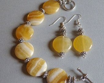 Butterscotch- Yellow Jade Bracelet & Earring Set