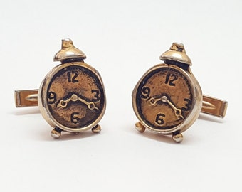 Vintage Unique Gold Over Sterling Silver Clock Cuff Links