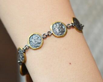 Antique Look Coin Bracelet / Oxidized Sterling Silver and 22K Gold Bracelet / Ethnic Bracelet / Vintage Look Coin Bracelet