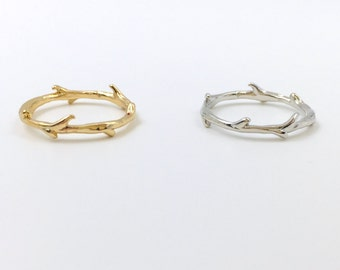 dainty branch ring in gold or silver, leaf ring,midi ring, knuckle ring, women ring,handmade,everyday,birthday,bridesmaid gift-15026