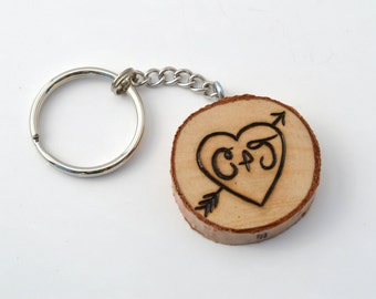 Custom Couples Keychain Wooden Pyrography Wood Burning Heart with Initials and Date