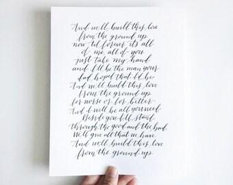 Custom Calligraphy Wedding Vows // Song Lyrics // Handwritten //