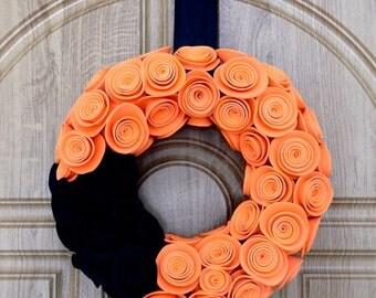 Halloween Door Wreath, Black and Orange Halloween Wreath, Halloween Home Decor, foam rosette wreath, Fall home decor, Black Orange foam rose
