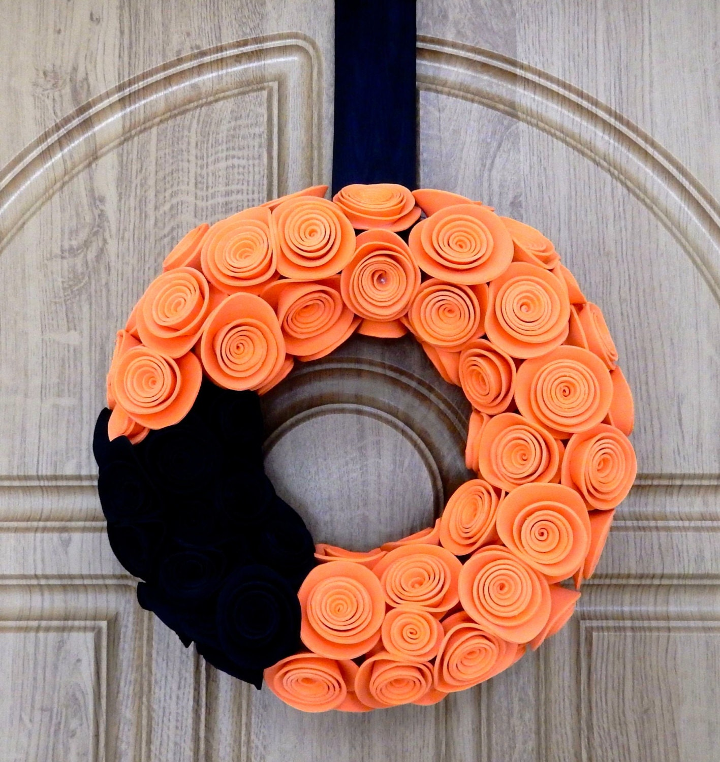 Halloween Door Wreath, Black And Orange Halloween Wreath, Halloween Home