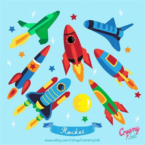 Rocket Digital Vector Clip art / Spaceship Clipart Design ...