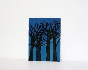 Trees silhouette painting acrylic on canvas panel