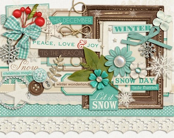 December Joys : Let it Snow - Christmas Digital Elements - Scrapbooking Pack - Perfect for the Holidays!