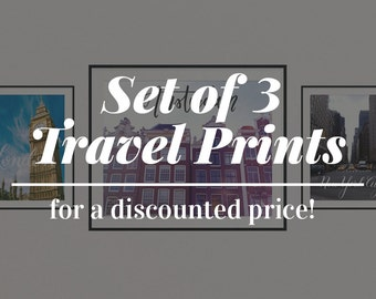 Set of 3 Travel Prints at a Discounted Price, Travel Gifts, Gifts for Travelers, Calligraphy Prints, Wanderlust Print, Wanderlust Wall Art