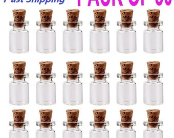 """50Pcs 11/16"""" x 3/8"""" inch  (18x10mm) 1ml Mini Clear Message Bottles Wishing Glass Bottles Vials With Cork ---------- USA SELLER Fast Shipping"""