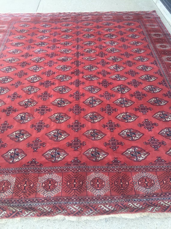 "10'6"" x 12'7"" Antique Persian Turkeman Oriental Rug - 1940s - Hand Made - 100% Wool Pile - Vintage"