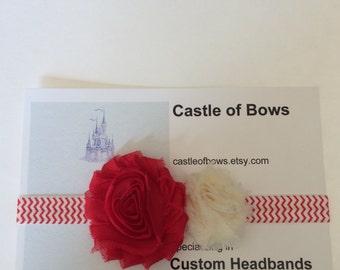 Red and White Chevron Shabby Flower Headband