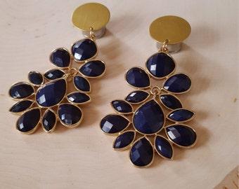 Royal Blue Jewel Dangle Plug Gauges 0g, 00g, 7/16  1/2, 9/16, 5/8, 3/4