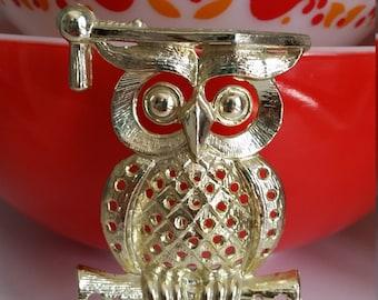 Vintage Earring Holder, Gold Owl, Torino, Graduation Owl, Wise Owl