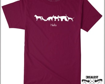 Hello Dog Lover T Shirt Butt Sniffing Dogs Pitbull Greetings