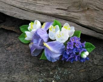 Bridal hair flower Woodland wedding accessory Floral head piece Iris jewelry Floral barrette White hair flower hair piece Lilac Jasmine