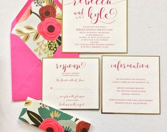 TANIA SUITE/Wedding Invitation/Floral/Fuschia/Imperial Blue/Gold Foil/DEPOSIT