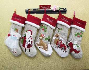 Monogrammed Christmas Stocking Personalized Christmas snowflake Stockings funny Christmas Stockings ornaments
