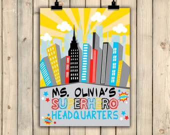 Superhero Headquarters, Superhero Classroom Decor, Gift for Teacher, Classroom Sign, Teacher Appreciation, Teacher Gift, School Sign DIGITAL